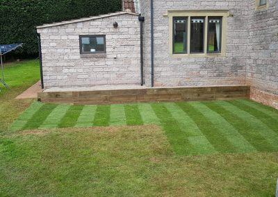 Patio removal, turfing and sleeper work in East Harptree