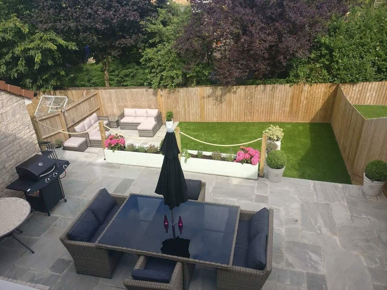 landscaped garden with new lawn and patio