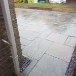 Patio and sleeper steps in withies park, Midsomer Norton