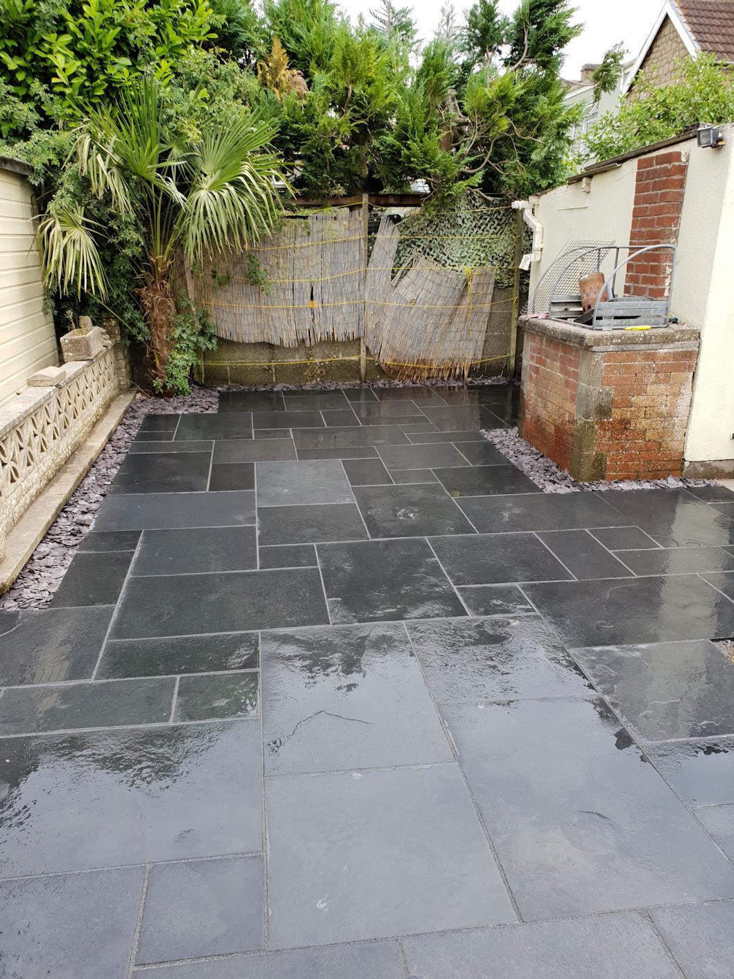 Black limestone patio in Peasdown St.John